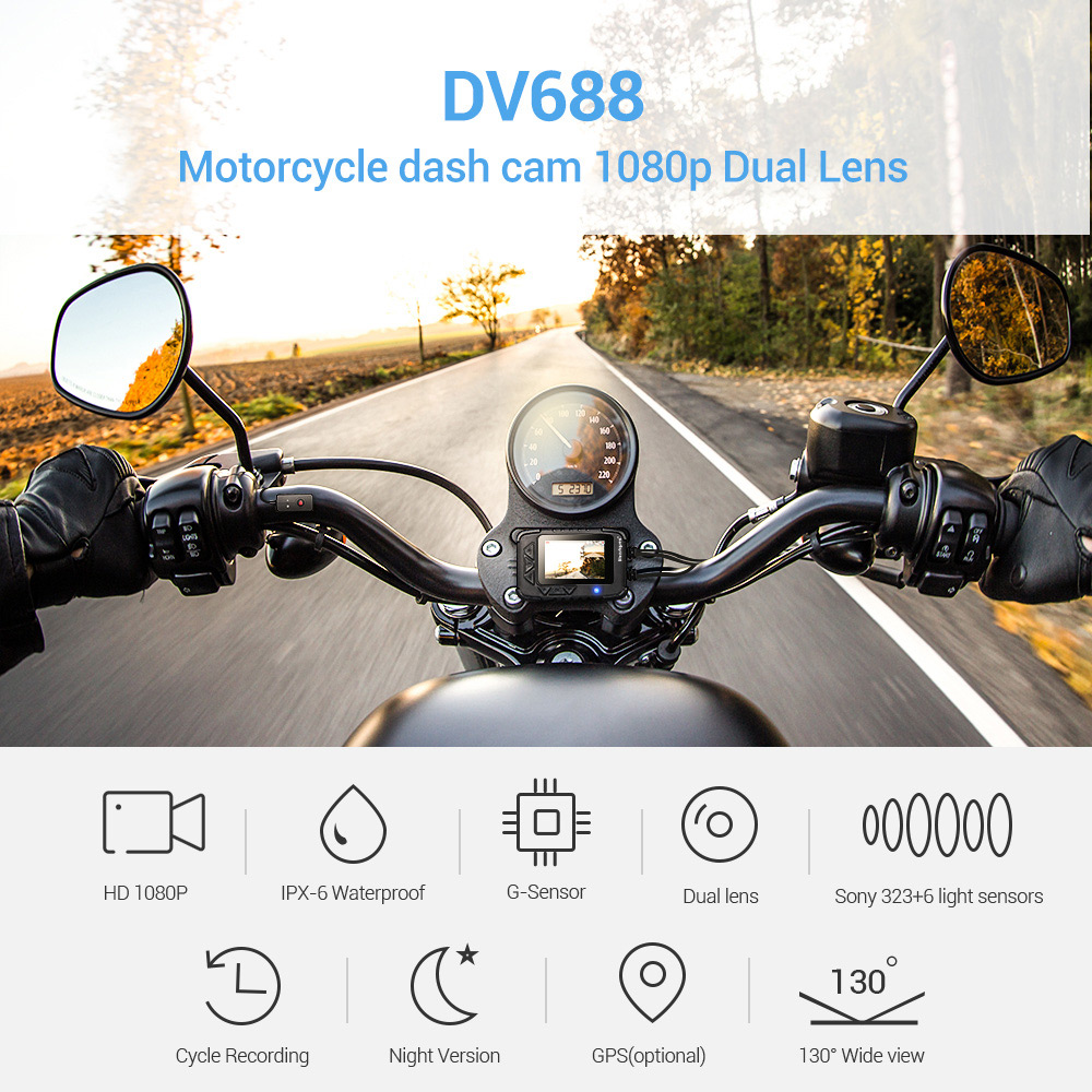 BlueSkySea DV688 Motorcycle Dashcam