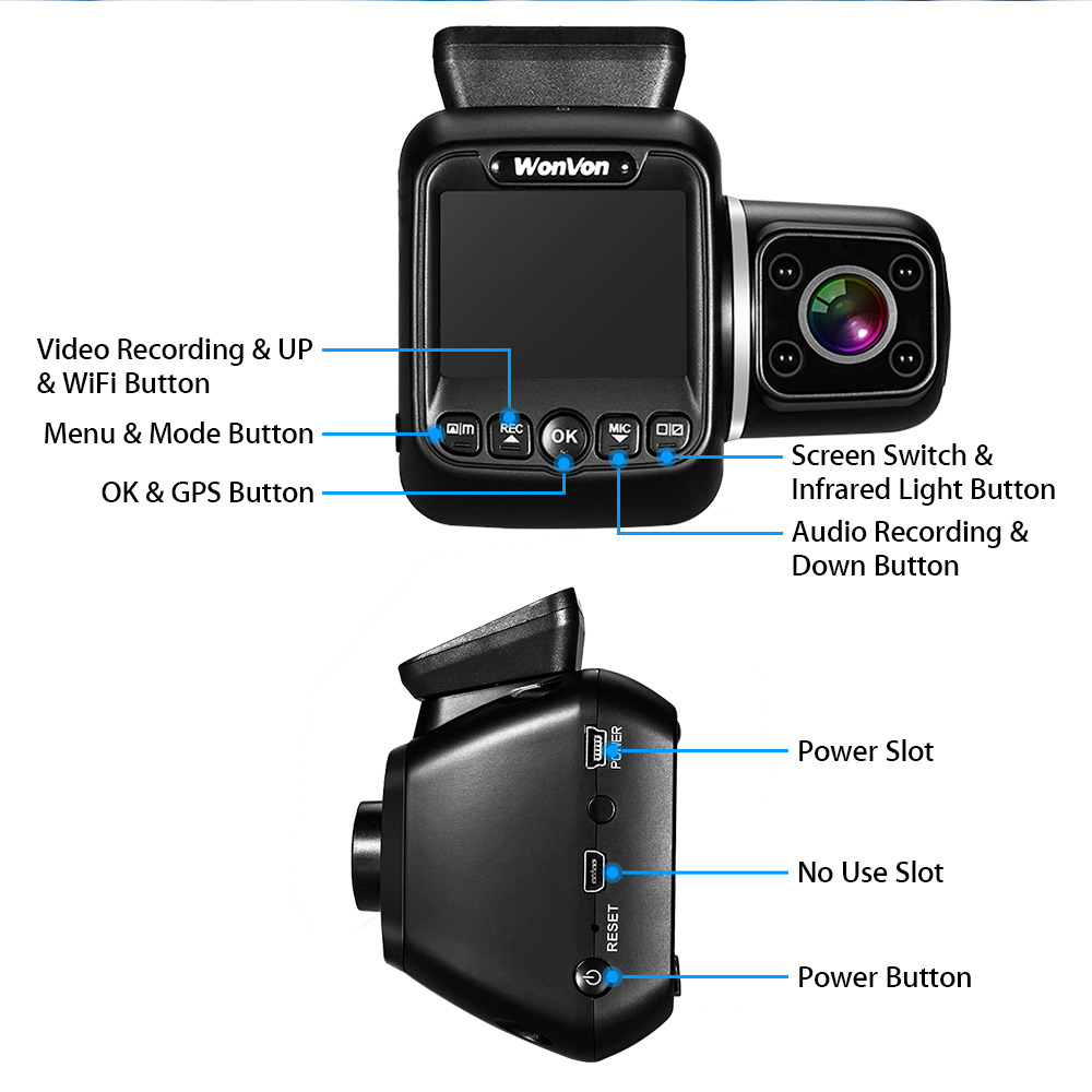 WonVon Two Channel Uber Dash Camera